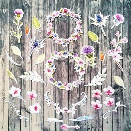 Mezei virágok | papír díszítőelem készlet