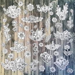 Festhető virágok | papír díszítőelem készlet