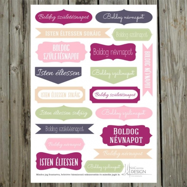 Boldog Szülinapot! | kivágóív – mályva rózsaszín világoszöld