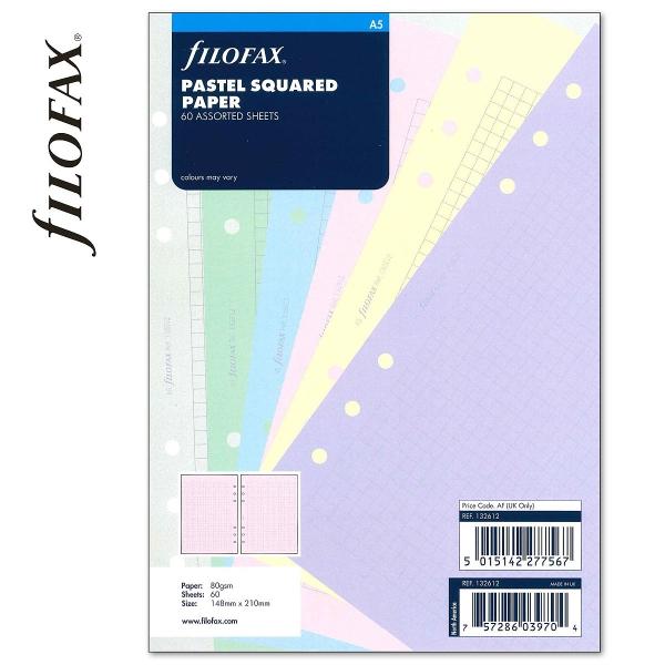A5 négyzethálós jegyzetlap pasztell színű | Filofax