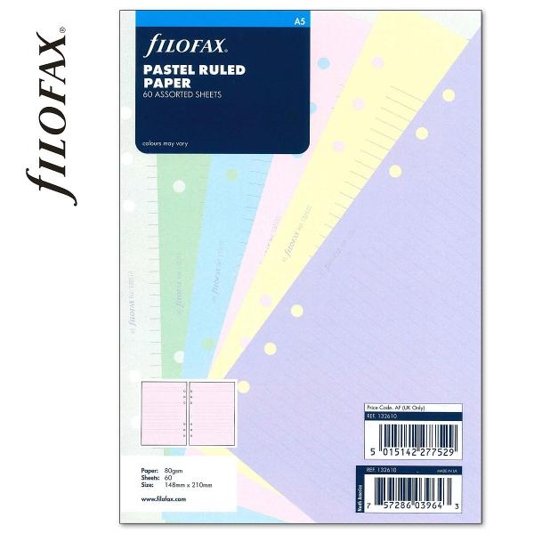 A5 vonalas jegyzetlap pasztell színű   Filofax