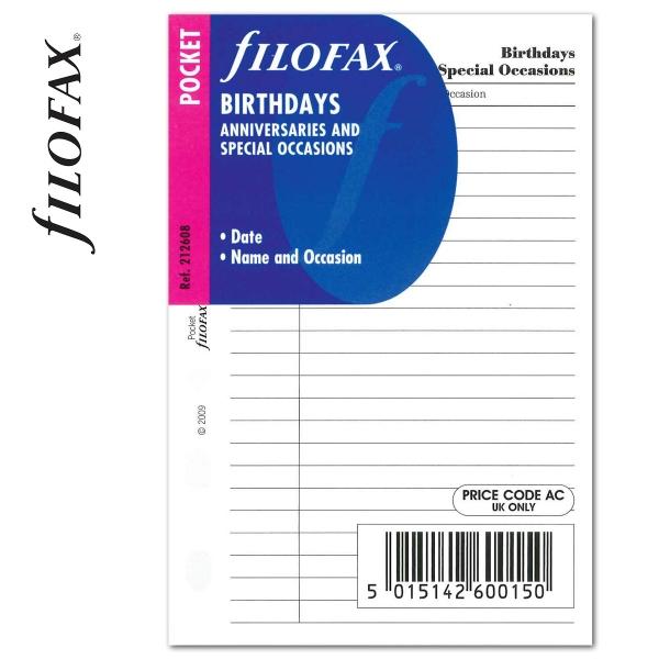Pocket Születésnap tervező fehér   Filofax