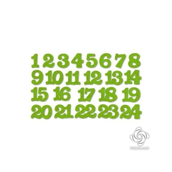 Világos zöld adventi filc számok