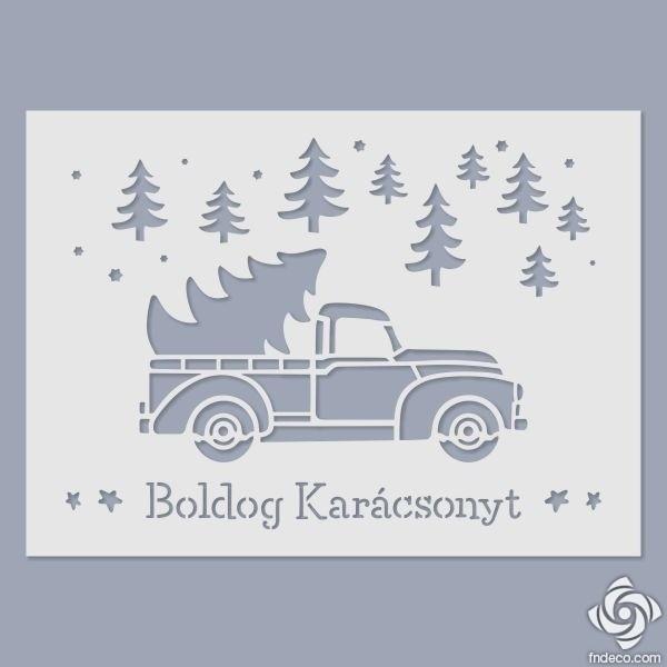 Boldog Karácsonyt - teherautós stencil