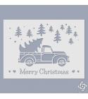 Merry Christmas - teherautós stencil