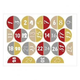 December Napjai számos   A6 matrica - bordó-arany-ezüst-bézs