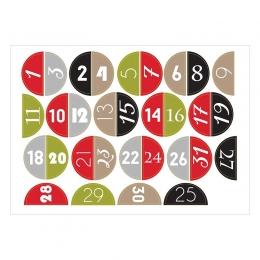 December Napjai számos   A6 matrica - piros-zöld-ezüst-fekete