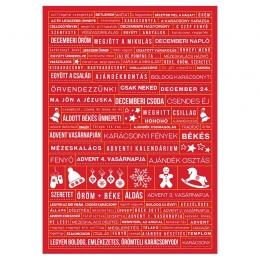 Decemberi sokszavas   A5 matrica – piros