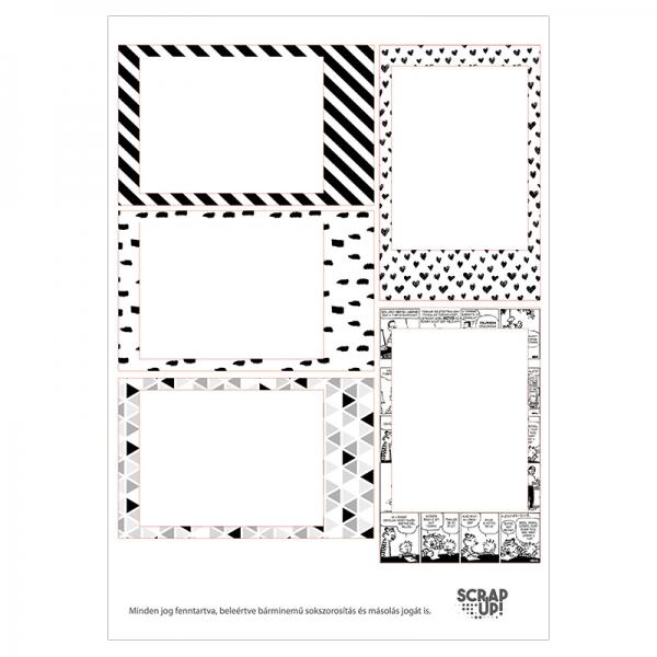 Instax   A5 matrica keretek – fekete-fehér-mintás