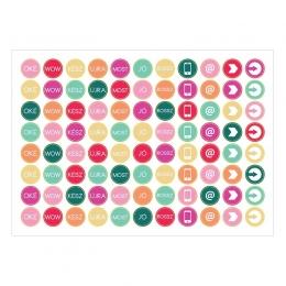 Mini körök | A6 matrica - menta-pink-narancs