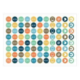Mini körök | A6 matrica – narancs-világoskék-sötétkék