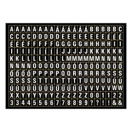 Apró betűmatrica - fekete