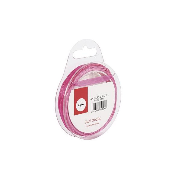 Organzaszalag, 7 mm, pink, 10 mm