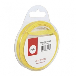 Organzaszalag, 7 mm, sárga, 10 m