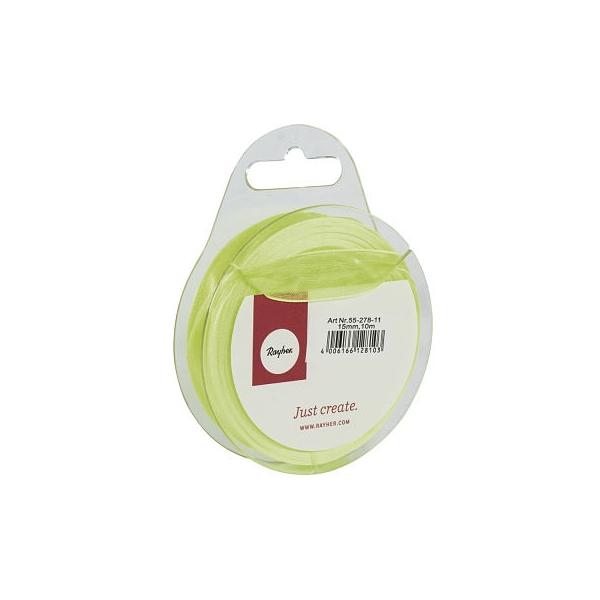 Világos zöld organzaszalag 15 mm 10 m